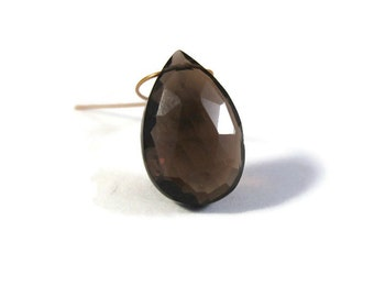 One Smoky Quartz Bead, Faceted Teardrop Briolette, Large Gemstone for Making Jewelry, 15mm x 10mm (B-Sq7b)
