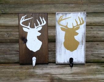 Rustic Wooden Christmas Stocking Holder, Rustic Stocking Hanger, Deer Head Silhouette Wall Sign, Rustic Coat Hanger, Woodland Nursery Decor
