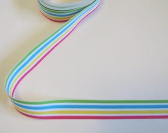 "Pastel Rainbow Stripe 7/8"" Grosgrain Ribbon"