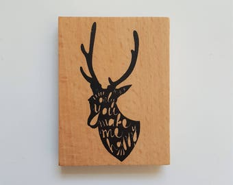 Wooden Rubber Stamp - Deer - Only You Make Me Happy - Quote