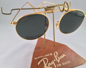 Vintage Ray Ban Bausch And Lomb Round Arista Gold W1697 G15 XLT 45mm Sunglasses