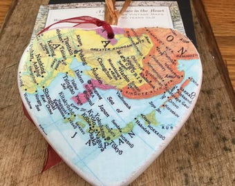 Japan Map Christmas Ornament, Your Special Place in the Heart / HONEYMOON Gift / Wedding Map Gift / Travel Tree Ornament /