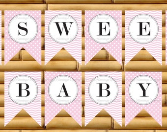 Baby Shower Banner, Baby Shower Sign, Pink, Decor, Sweet Baby, Elephant, Party Baby Shower Banner, Printable, Instant Download-TFD288