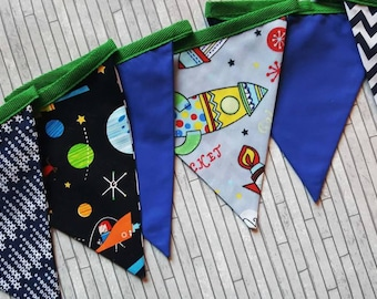 Childrens bunting, space bunting, fabric flags, bunting flags, fabric flags, blue, bunting banner, boys bedroom children bedroom, play house