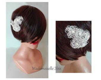 party fascinator Hat wedding silver hair clip, fascinator ceremony, woman, Kopfschmuck barrette