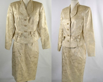 1980s Gold Lame Metallic Brocade Fitted Jacket and Pencil Skirt by Rickie Freeman for Saks Fifth Avenue