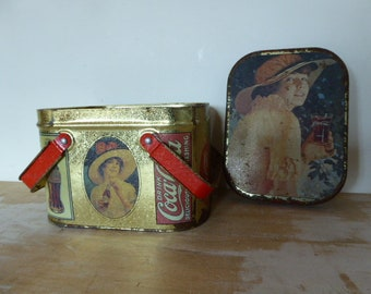 Vintage Coca-Cola Tin with Handles, Coke Publicity Tin, Retro Biscuit Barrel, Lidded Tin 0318015-558