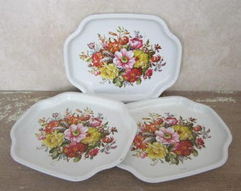 3 Small Metal Elite Trays Vintage Metal Serving/Snack Trays Floral Design Elite Made In England