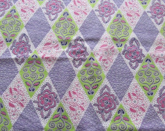lavender and green floral print vintage FULL feedsack fabric