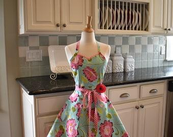 Aqua Floral ~  Cute Designer Retro Apron ~ Sadie Style Women's Apron ~ 4RetroSisters Aprons