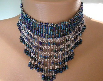 Blue Fringed Necklace,  Gatsby Jewelry , Waterfall Necklace, Flapper Collar, Art Deco, Blue Bridal Necklace, Bib Necklace, Carnival Beads