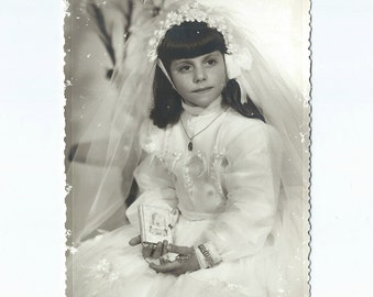 Antique First Communion photo - Black and White Photo - S11