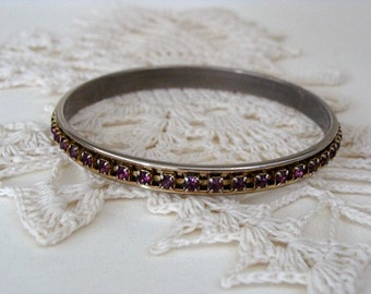 Vintage Bangle Bracelet Pronged Purple Rhinestones