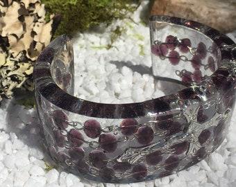 Rosary Resin Cuff Bracelet Amethyst Color