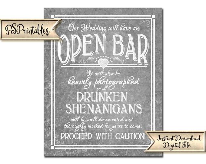 Galvanized Bar Sign | PRINTABLE wedding sign, Open bar sign, Drunken Shenanigans, Funny wedding sign, barn wedding decor, wedding decoration