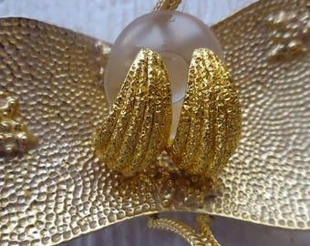 Premier Design texture goldtone earrings/Vintage Premier Design Earrings/1980's Premier Design Earrings/Aretes para Mujer
