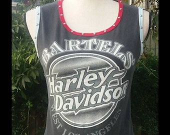 1980's Harley Davidson t shirt upcycled into a tank in the 90's