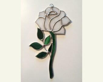 Handmade Stained Glass WHITE Rose Suncatcher