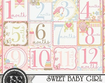 On Sale 50% Sweet Baby Girl Number Journal Cards Digital Scrapbooking Kit