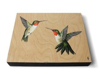Rubin Throated Kolibris Malerei - Kolibri Vogel Kunst - natürliche Holzmaserung - Kolibri Geschenk - realistische Tierwelt Kunst - nackten Holzplatte