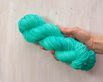 Hand dyed yarn, worsted yarn, blue yarn, aqua yarn, semi solid yarn, merino yarn, superwash yarn, dyed yarn, aran yarn, bright bue yarn
