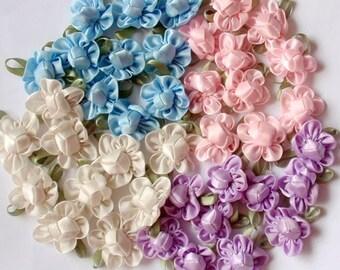 40 Handmade Ribbon Flowers  MY-042- 02 Ready To Ship