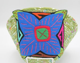 Mola Adorned coiled fabric basket II