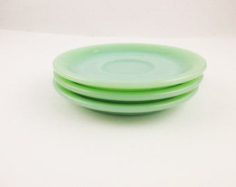 Three Saucers - Jadeite 'Restaurant Ware' - Fire-King Logo - Collectible Heavy Saucers - Fire-King Restaurant Ware Saucers For Cups