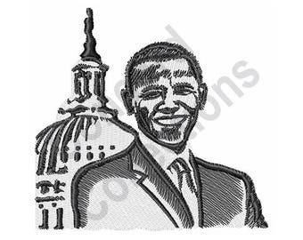 President Obama - Machine Embroidery Design, Barack Obama