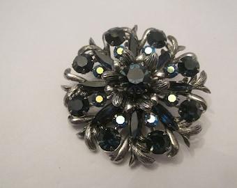 Stunning SELINI Signed Vintage Brooch with Sapphire Blue AB  Prong Set Rhinestones