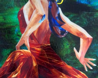 Stained glass mosaic - Dancing in the Moonlight