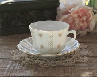 Vintage Royal Stuart Tea Cup Set, Tea Cup Duo, English Bone China Teacup Set, Ca. 1940's