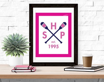Custom Monogram Paddle Print -- Prep Avenue Print Collection -- Preppy Home Decor