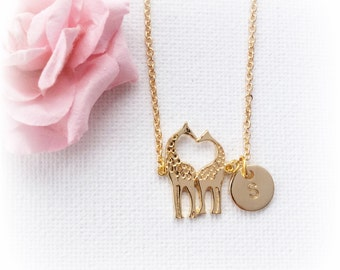 Gold giraffe Necklace, baby giraffe, giraffe, giraffe jewellery, animal necklace, sister gift, Sisters Jewellery, Best Friends, Gift Idea,