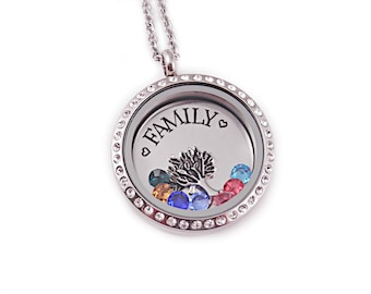 Personalized Family Tree Locket - Memory Locket - Mother's Day - Family Birthstone Necklace - Gift For Mom - Floating Charms - 1086