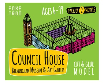 Council House. Birmingham Museum and Art Gallery: Cut-Out & Glue Paper Model Kit || Stocking Filler