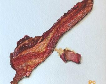 Never Enough Bacon, Original Watercolor