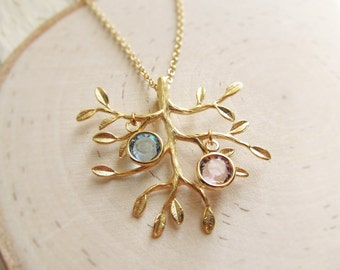Birthstone Family Tree Necklace in Gold, Personalized Mom Jewelry, Mothers Jewelry, Mom Birthstone Necklace, Gold Family Birthstone Necklace