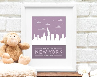 New York City, New Baby Gift, Personalized Nursery Art, New York City Skyline, Statue of Liberty, Nursery Print, New York Baby