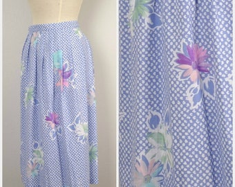 Plus Size Powder Blue and Pink Long Soft Pleat Pencil Skirt 80s 90s Vintage Straight Midi Floral Skirt 38 waist 22W Worthington  women