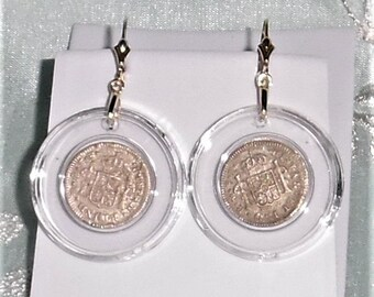 GENUINE 1783 El Cazador Shipwreck half Reales Coin, 14kt yellow gold Leverback Earrings
