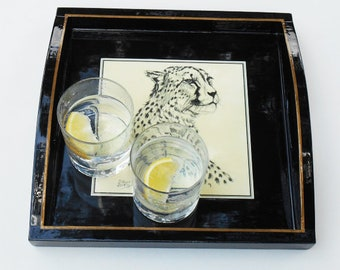 Drinks Tray Decorated with Print of Cheetah Head and gold line, FREE Shipping