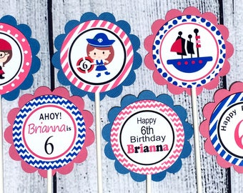 Pirate Girl Birthday Party Personalized Cupcake Toppers (set of 12) - Pirate Party Decorations, Pirate Party Supplies,Custom Cupcake Toppers