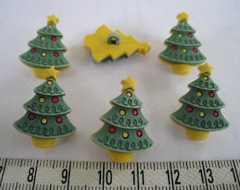 12pcs of Christmas Pine Tree Shank Button Matte