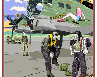 Lithographic Art Print of WWII B-17 Bomber with Crew Members, 18 x 24 Full Color Limited Edition print