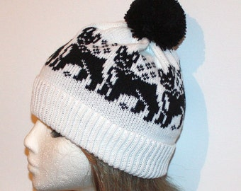 White pompom beanie hat with Black Boston Terrier, French Boston Bulldogs - with or without pompom