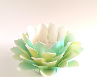 Paper Lotus Lantern -Watercolor Green and Yellow-