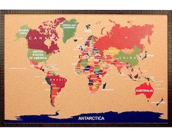 Us corkboard map etsy cork world map travel corkboard l push pin board traveler adventure journey trip countries europe usa gumiabroncs Choice Image