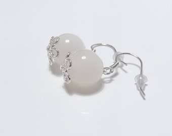 925 silver earrings with genuine, natural white moonstone beads 12 mm diameter