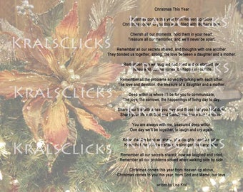 Christmas Poem Print for those that have lost their Mom Mama or Grandma 8x10 Christmas w/out Mom Christmas This Year Ma Color Digital File
